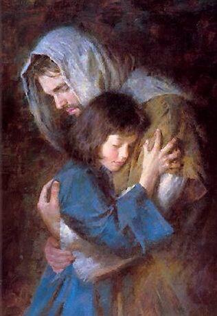 Morgan Weistling Jesus hugging a child