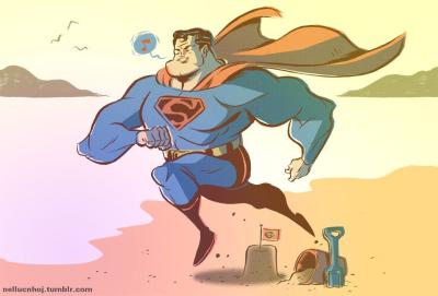 Nellucnhoj.tumblr superman leaping sandcastle